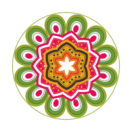 flat design colorful mandala icon vector illustration