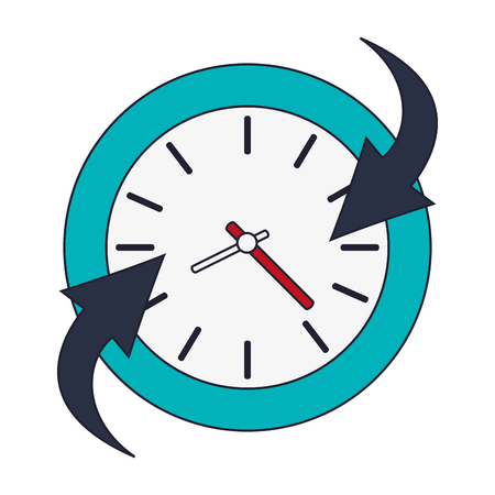 set going: flat design clock and arrow icon vector illustration Illustration