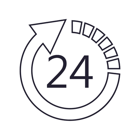 24 hour: flat design 24 hour arrow icon vector illustration Illustration