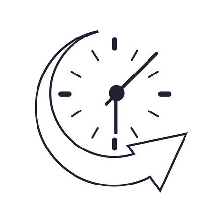 flat design clock and arrow icon vector illustration Illustration