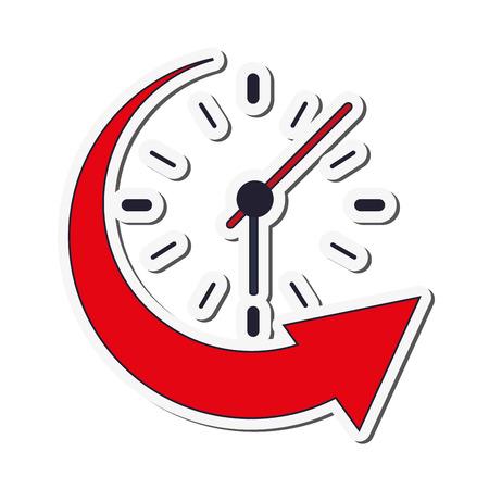 backwards: flat design clock and arrow icon vector illustration Illustration