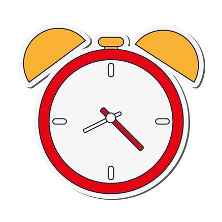 flat design analog alarm clock icon vector illustration