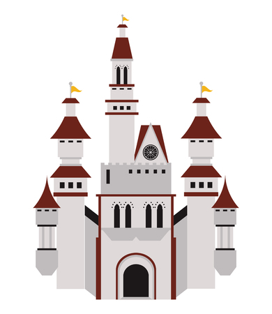 fortified: flat design large castle icon vector illustration