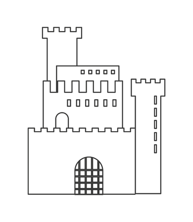 fort: flat design simple large castle icon vector illustration