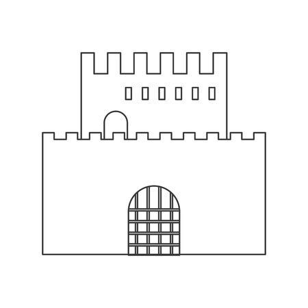 fortified: flat design simple large castle icon vector illustration