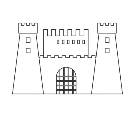 chateau: flat design simple large castle icon vector illustration