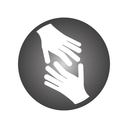 diseño plano abierto manos icono de ilustración vectorial