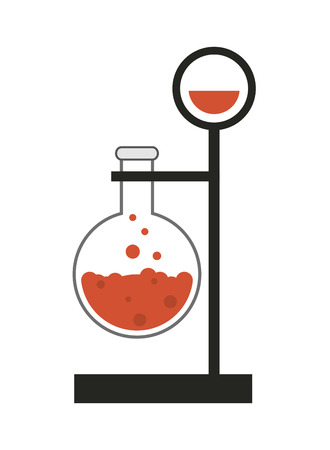 a solution tube: flat design round bottom flask and lab support icon vector illustration Illustration