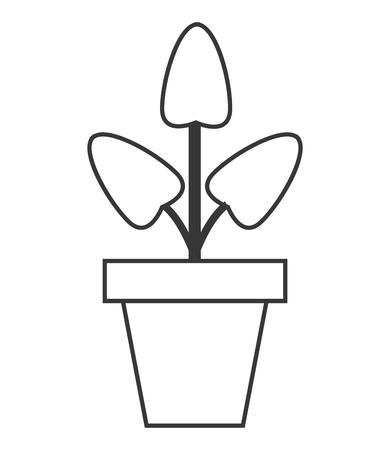 newbie: flat design plant in pot icon vector illustration