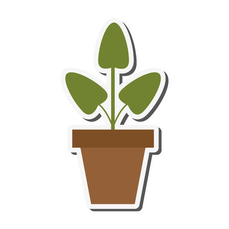 set going: flat design plant in pot icon vector illustration