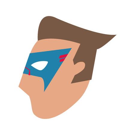 mask costume face superhero  cartoon anime male icon. Flat and Isolated illustration. Vector illustration Illustration