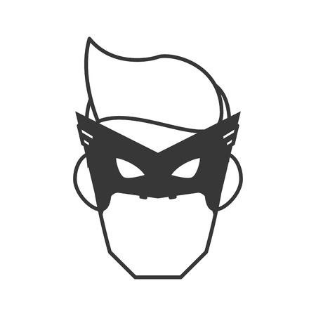 mask costume face superhero   cartoon anime male icon. Flat and Isolated illustration. Vector illustration Illustration
