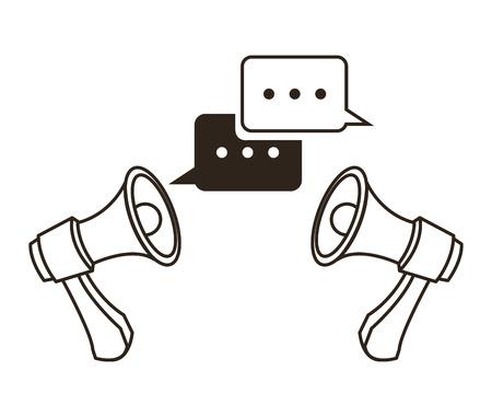 megaphone bubble communication sketch icon. Black white isolated design. Vector illustration Illustration