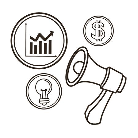 great idea: bulb megaphone infographic great idea solution sketch icon. Black white isolated design. Vector illustration