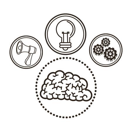 great idea: bulb megaphone gears brain great idea solution sketch icon. Black white isolated design. Vector illustration Illustration