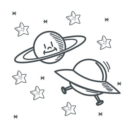 orbital station: stars planet ufo space sketch icon. Black white isolated design. Vector illustration Illustration