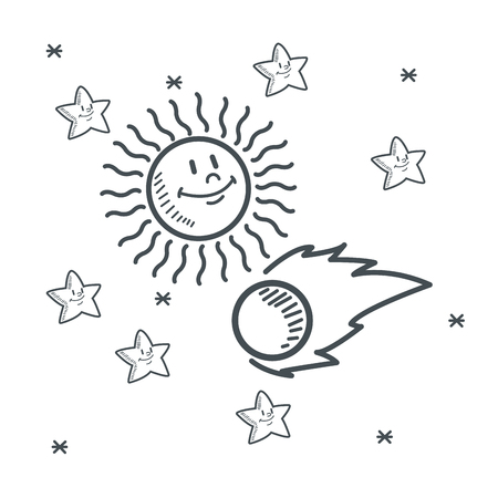 orbital station: stars sun asteroid space sketch icon. Black white isolated design. Vector illustration