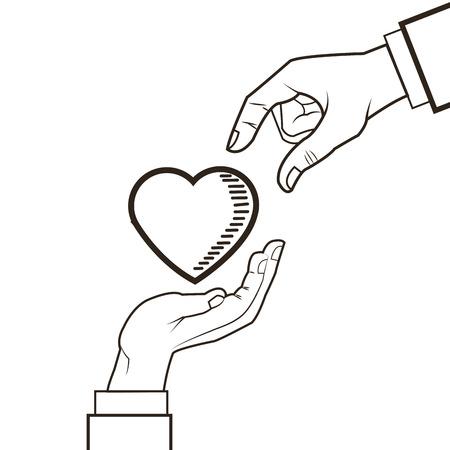 heart hand: love hand heart romantic sketch icon. Black white isolated design. Vector illustration Illustration