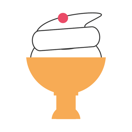 flat design ice cream cup icon vector illustration