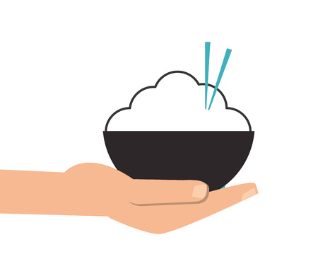 cooked rice: flat design hand holding rice bowl with chopsticks icon vector illustration