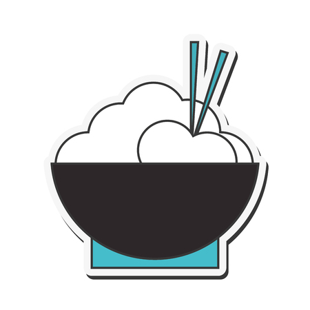 cooked rice: flat design rice bowl with chopsticks icon vector illustration