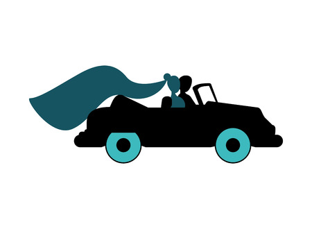 flat design bride and groom on car icon vector illustration