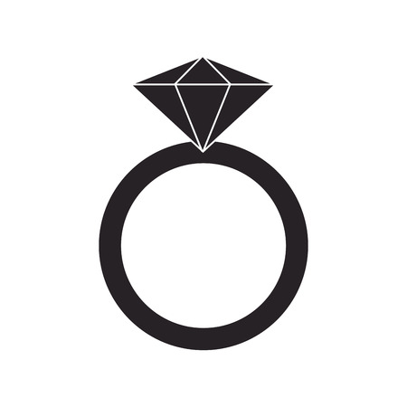 fiance: flat design ring with precious stone icon vector illustration