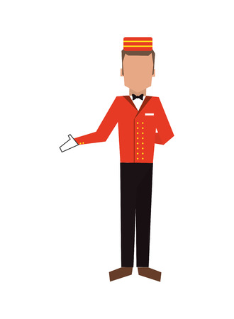 doorkeeper: flat design bellboy or bellhop icon vector illustration Illustration