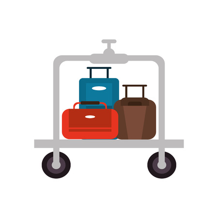luggage carrier: flat design luggage cart icon vector illustration