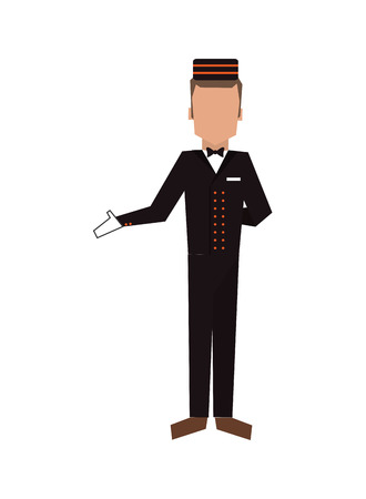bellhop: flat design bellboy or bellhop icon vector illustration Illustration