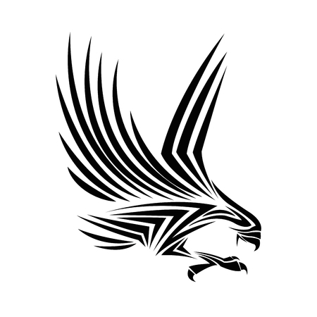 eagle tattoo animal draw abstract icon. flat and isolated design. Vector illustration