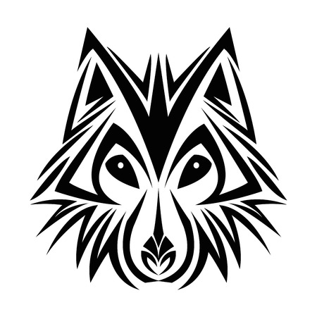 tattooing: wolf tattoo animal draw abstract icon. flat and isolated design. Vector illustration
