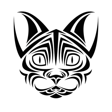 cat tattoo animal draw abstract icon. flat and isolated design. Vector illustration