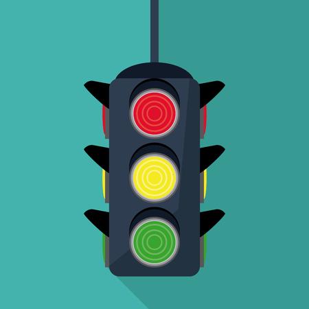 trafficlight: semaphore trafficlight sign warning road street icon. Colorful design. Vector illustration