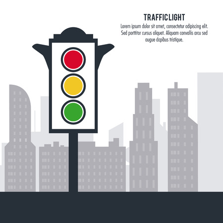 trafficlight: semaphore trafficlight sign warning road street icon. Colorful design. City silhouette background. Vector illustration Illustration
