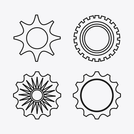 machine part: gear white cog circle machine part metal icon set. Isolated and silhouette design. Vector illustration Illustration