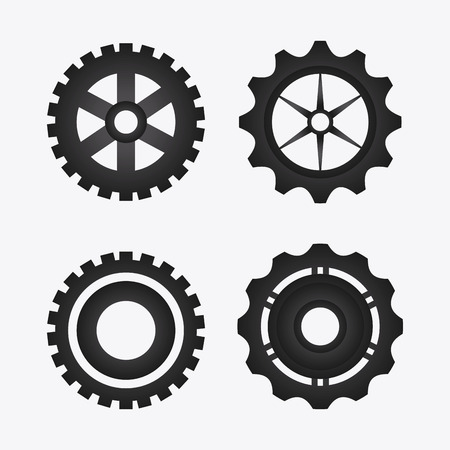 gear cog: gear cog circle machine part metal icon set. Isolated and silhouette design. Vector illustration