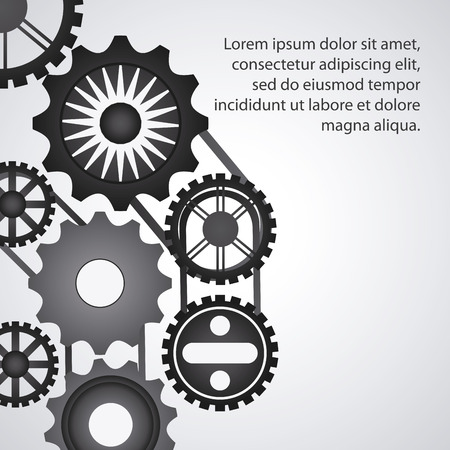machine part: gear cog circle machine part metal icon set. Isolated and silhouette design. Vector illustration