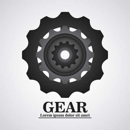 machine part: gear cog circle machine part metal icon. Isolated and silhouette design. Vector illustration