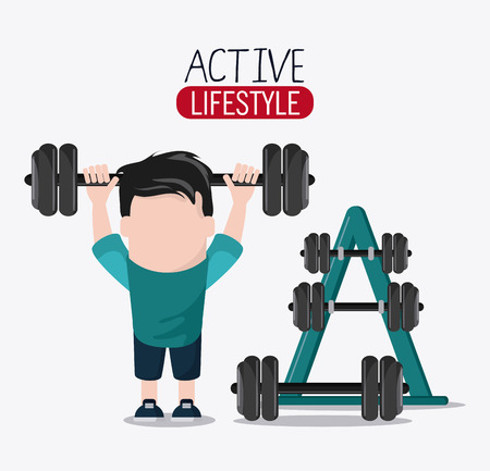 boy man cartoon weight lifting healthy lifestyle gym fitness icon. Colorful design. Vector illustration Illustration
