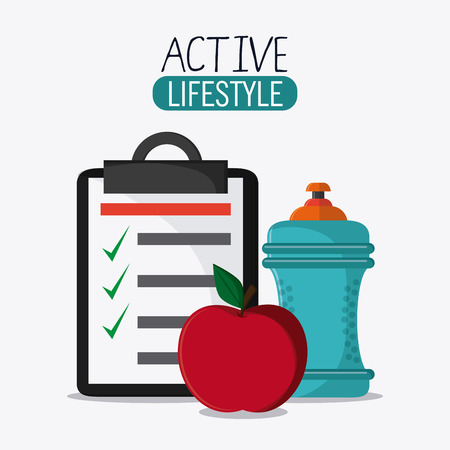 check list: check list apple bottle healthy lifestyle gym fitness icon. Colorful design. Vector illustration Illustration