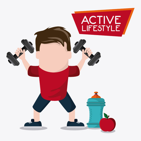 bottle apple boy man cartoon weight lifting healthy lifestyle gym fitness icon. Colorful design. Vector illustration Illustration