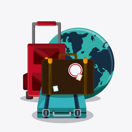 recreational: suitcase baggage planet time travel vacation icon. Corloful and Isolated design. Vector illustration Illustration