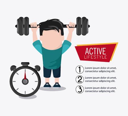 chronometer: boy man cartoon chronometer weight lifting healthy lifestyle gym fitness icon. Colorful design. Vector illustration Illustration