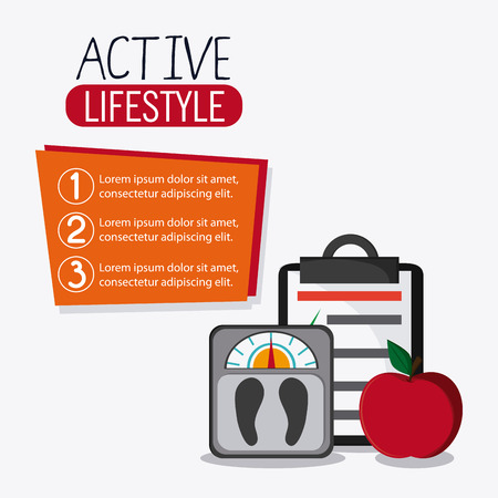 check list: scale check list apple healthy lifestyle gym fitness icon. Colorful design. Vector illustration