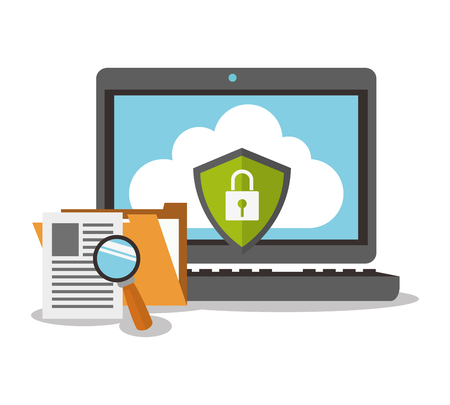 fatal: padlock laptop cyber security system technology icon. Flat design. Vector illustration Illustration