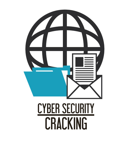 cracking: envelope file global cyber security system cracking technology icon. Flat design. Vector illustration