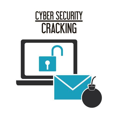 cracking: padlock laptop envelope cyber security system cracking technology icon. Flat design. Vector illustration