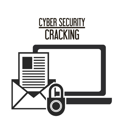 cracking: padlock laptop envelope cyber security system cracking technology icon. Flat and silhouette design. Vector illustration