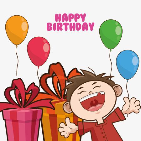 scream: kid boy gift balloons cartoon scream celebration happy birthday icon. Colorful design. Vector illustration Illustration